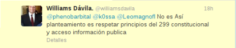 tweet Williams Dávila